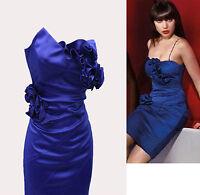 KAREN MILLEN Electric Blue Satin Corsage Wiggle Cocktail Corset Dress UK 10 EU38