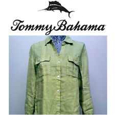 NEW! Tommy Bahama Womens 100% LINEN Shirt Green XS Relax Long Sleeve Spring
