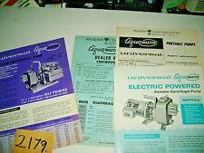 1974 MEDALIST  UNIVERSAL MOTORS AQUA MASTER GAS & ELECTRIC WATER PUMPS