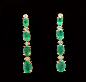 7.30ct Natural Emerald and Diamond 14K Solid Yellow Gold Earrings