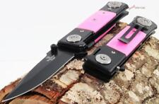 "8"" Tac-Force-Snake-Eye-Pink-German-Style-Dagger-Spring-Assisted-Pocket-Knife"