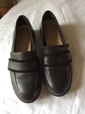 Clarks Ladies Black Leather Slip On Work/School Shoes Alexa Ruby Size 5.5 VGC
