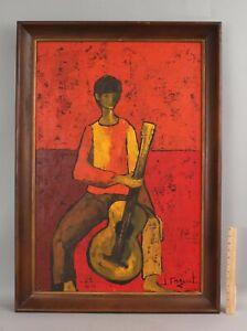 JOSETTE FAQUET Mid-Century Modernist Expressionist Portrait Painting Boy Guitar