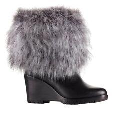 9efdf14fbf52 Sorel Park City Lux Short Wedge Waterproof Leather BOOTS Fur in Black 6.5