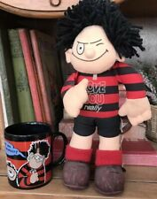 More details for beano collection vintage 1988 dennis the menace soft toy plush toy  mug gnasher.