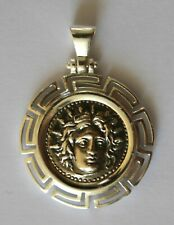 GOD APOLLO GREEK COIN NORMAL SIZE PENDANT STERLING SILVER 925 CODE 15