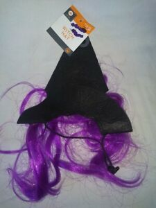 Pet Halloween Costume Witch Hat for Cats Black Hat with Purple Hair