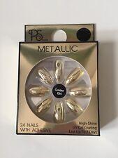 Gold Metallic False Nails