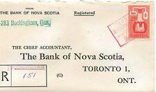 Buckingham Quebec Registered handstamp MOON etc. 1957  cover Canada