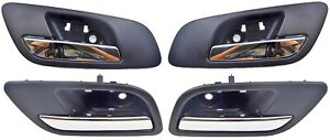 Interior Inside Door Handle Black Chrome Lever Front Rear Left Right Set of 4
