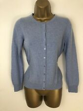 M&S Pure Cashmere Cardigan Blue Chambray Button Thin Knit Long Sleeve Size 12