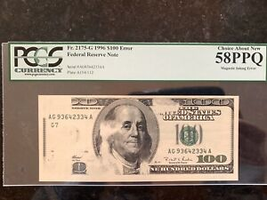 1996 USA BANKNOTE $100 BILL MAGNETIC INKING ERROR                           1009
