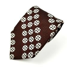 047a6b28 Superba Mens 100% Dacron Polyester Short Neck Tie Brown White Black Euc