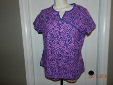 Koi Womens Medium M Uniform Scrub Top Purple butterfly mod floral Kathy Petersen
