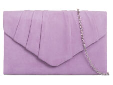 Ladies Faux Suede Clutch Bag Pleated Envelope Evening Bag Party Handbag KW308