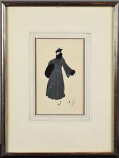 Framed Erte Original Gouache - Fashionable Art Deco Lady Gray Ensemble Fur Muff