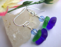 Emerald Green & Cobalt Blue SEA GLASS Silver Dangle Earrings USA HANDMADE