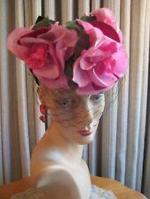Captivating 40'S Pink Floral Tilt Hat W/Black Back Bow & Veil