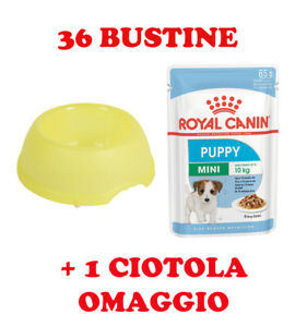 36 BUSTINE ROYAL CANIN PUPPY MINI 85 GRAMMI + 1 CIOTOLA IN OMAGGIO