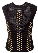 New Balmain & H&M Black Rope Tank Gold Embellishment Top Size 4 New Tag