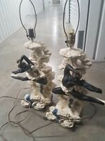 Reglor of California chalkware vintage 1950s pair of Lamps with original shades
