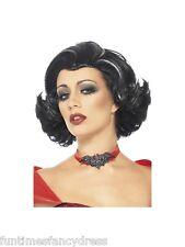 Halloween Bijou Boudoir Vampirin Perücke schwarz mit weißen Streifen Kostüm