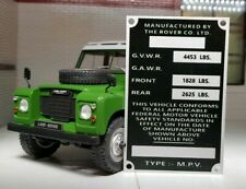 Land Rover Series Bulkhead Body NADA USA Export Compliance Plate 88 Petrol