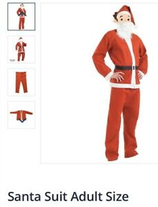 Adult Santa Suit Father Christmas Budget Fancy Dress Outfit Costume Xmas