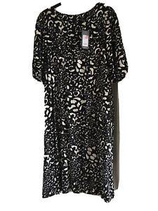 Bnwt Ladies Dress Size 22 New Look Black And White Cotton Pretty Dress