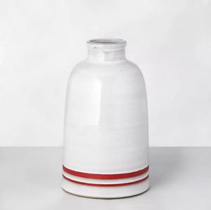 """Hearth & Hand with Magnolia Double Stripe Stoneware Vase 9.5"""" Sour Cream/Red '20"""