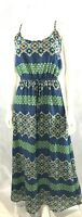 Banana Republic Maxi Long Summer Dress Blue Green Lined Adj Straps SZ 0