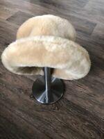 ❤ Beautiful Ladies Vintage ST MICHAEL M&S Black Beige. Fur Hat One Size VGC