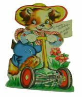 A Happy Birthday To A Big Boy Dog Mowing Vintage Greeting Card Paper Ephemera