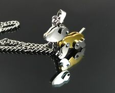 ARTICULATED PUPPY DOG PENDANT NECKLACE IN 24k GOLD PLATED STAINLESS STEEL