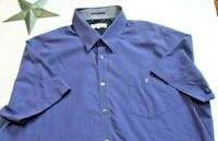 Ted Baker London Mens Size 2 XL Button Down Short Sleeve Blue Gray Plaid Checks