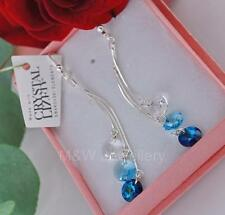 925 Sterling Silver Long Earrings RIVOLI Blue Ombre Crystals From Swarovski®