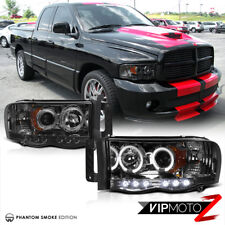 02-05 Dodge RAM 1500 New LH+RH Pair Smoke Projector LED Headlight Signal Lamps