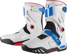 Icon Raiden DKR Waterproof Adventure Touring Motorcycle Boots - Blue/ Red/ White