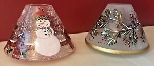 Yankee Crackled Glass Candle Shades Christmas Holly Branches & Snowman Lot Of 2