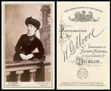 ANTIQUE CDV PHOTO PORTRAIT OF A WOMAN IN BLACK DRESS AND HAT &DUBLIN, IRELAND