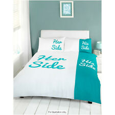 His and Her Side Teal / White King Bed Size Duvet Quilt Cover Bedding Set