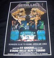 Metallica concert poster Open Air 1993 Turin Italy  A3 size repro