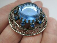 Vintage Silver Tone Sapphire Glass Rhinestone Flower Trombone Clasp Brooch Pin