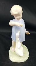 More details for unbranded porcelain figurine little boy/girl feeding duck and duckling -restored
