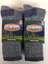4 Pair Men's Blue Field & Stream Merino Wool Crew Hiking Socks 10-13