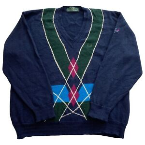 VTG Fred Perry V-Neck Wool Blend Blue Geometric Mens Pullover Sweater Large L *