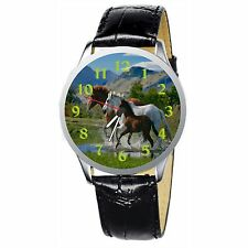 Running Horses Stainless Wristwatch Wrist Watch