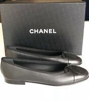 2018 CHANEL BLACK GRAINED LEATHER CAVIAR BALLET BALLERINA FLAT FLATS SHOES 39.5