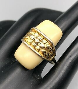 Vintage Signed Trifari Cream Lucite with Gold Tone Flower Band Cocktail Ring