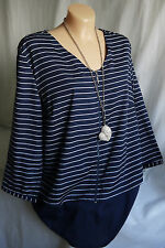Designer Damen Chiffon Tunika,Blusenshirt,Lagenlookoptik,Blau/Weiß,Gr. 44-46